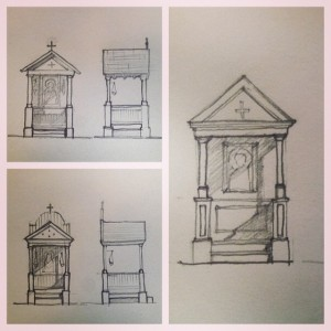 Sketches of ideas for the larger shrine.